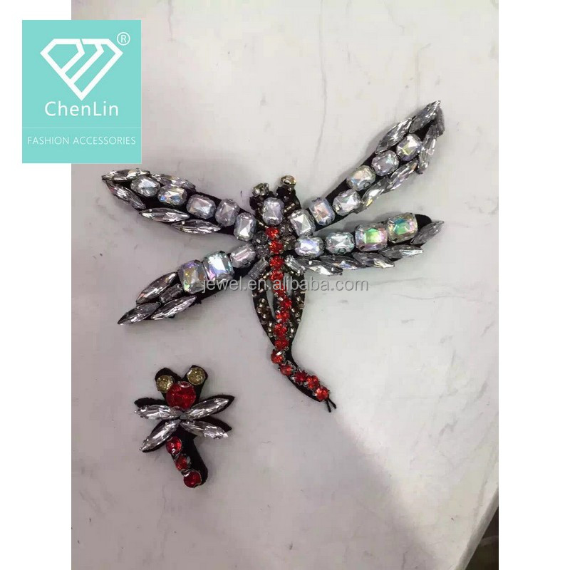 Diamond Bead Design 3d Dragonfly Embroidery Patch For Garment