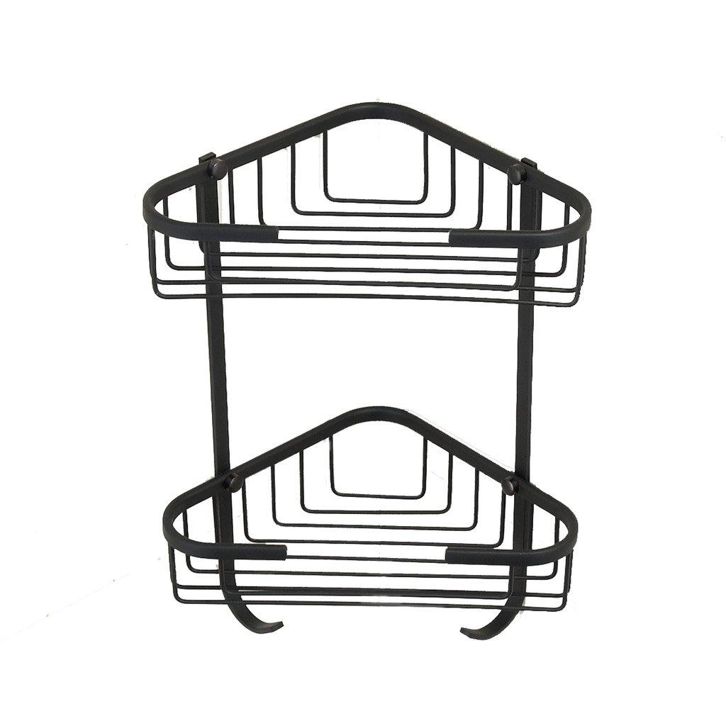 Corner Basket Shower MAMOLUX Acc| Solid Brass Shower Basket Shelf Tidy Rack Caddy Storage Organizer Oil Rubbed Bronze Finish|Space Saving Toiletries/Cosmetics Holder