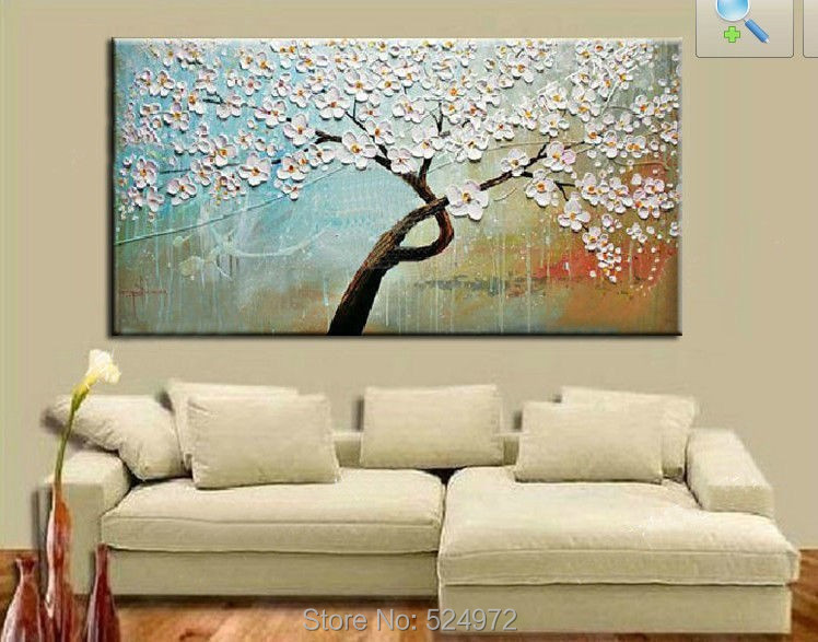 Great Tree White Flower Sky Blue Color. Painting Size