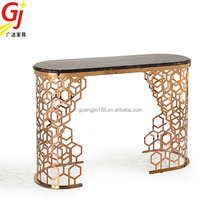 modern marble top stainless steel console table with mirror CN9313