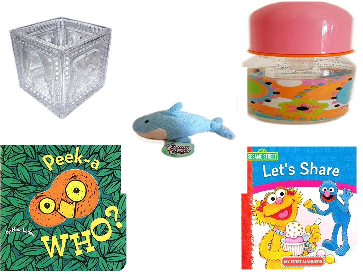"Children's Gift Bundle - Ages 0-2 [5 Piece] - B-A-B-Y Block Container Heavy Glass - ID Gear Baby Bottle Pucci Look 4 oz - Cuddly Cousins Sealife Colleciton Whale Shark Plush 9"" - Peek-a-WHO? Board B"