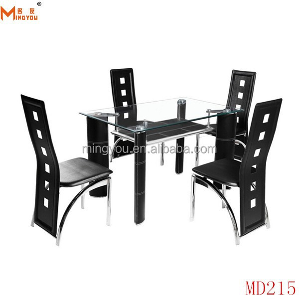 davao furniture 5pc Glass Chrome Black Leather chair