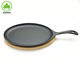 cast iron sizzler plate with wood
