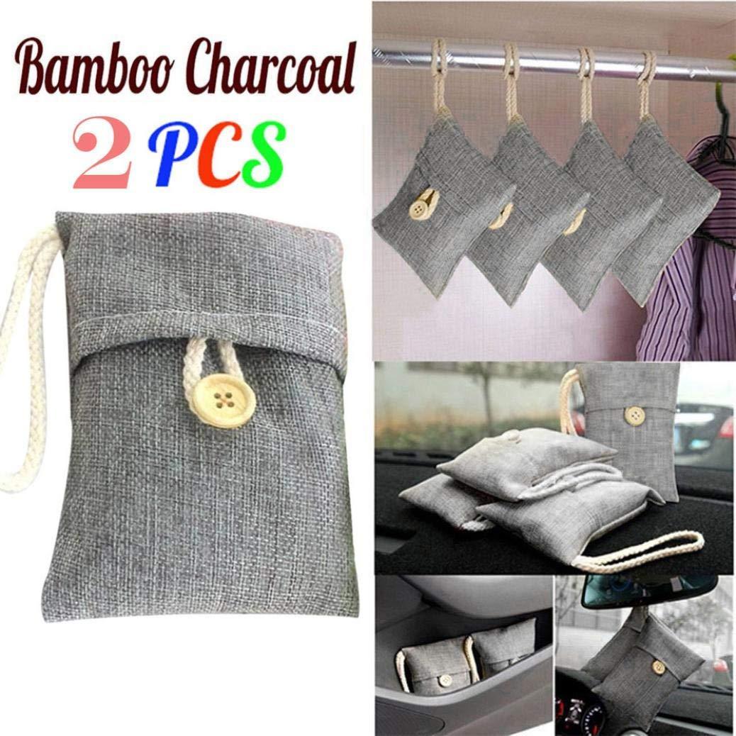 Iuhan Natural Bamboo Charcoal Air Purifying Bag, Clearance Natural Air Freshener, Eco Friendly Odor Eliminator for Cars, Closets, Bathrooms, Pet Areas (2 Packs, Gray)