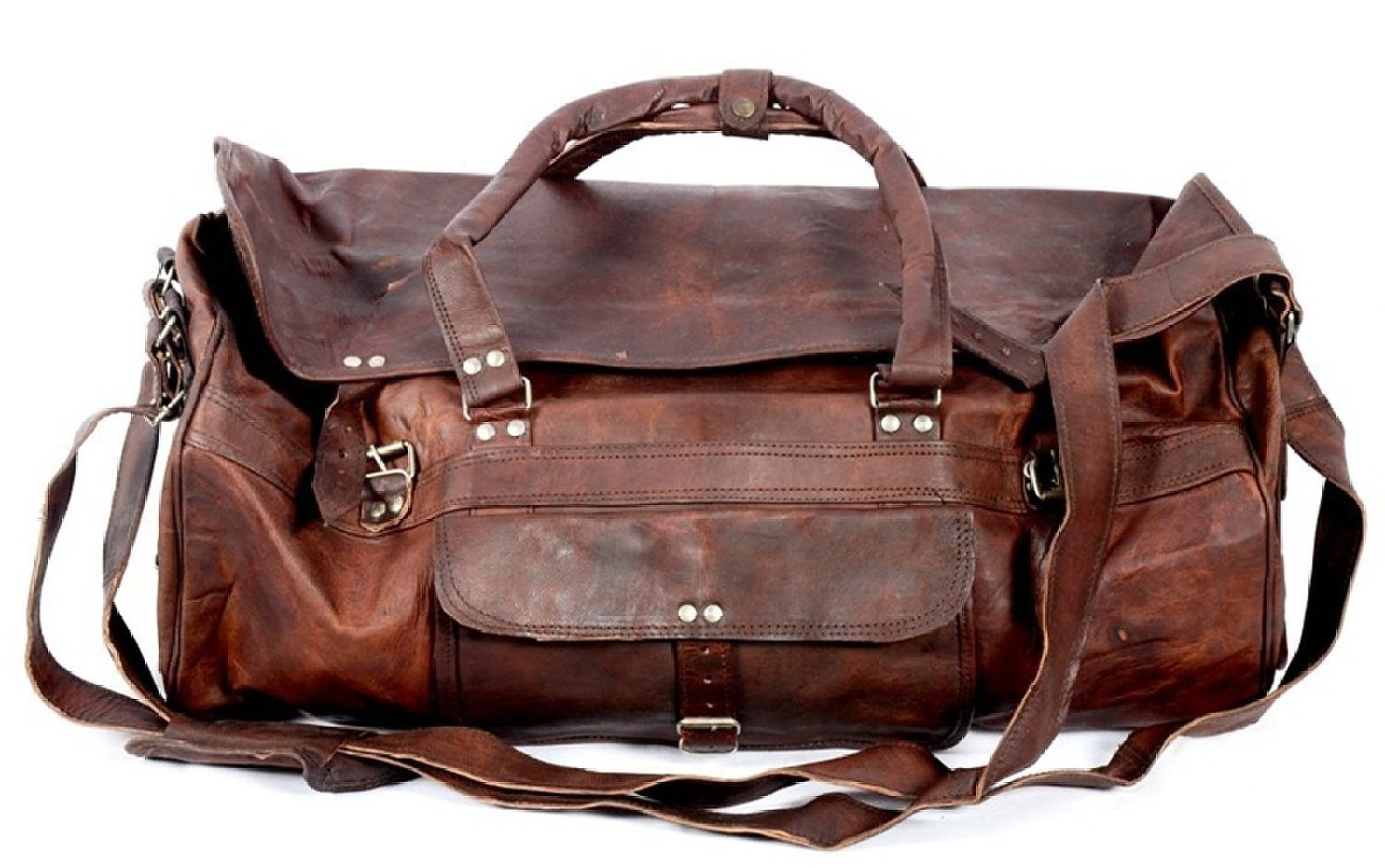 Urban Dezire Large Leather 20 Duffel Travel Gym Overnight Weekend Leather Bag Sports