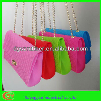 Fashion Silicone Hand Bags With Long Chain Strap Design 2013 Buy