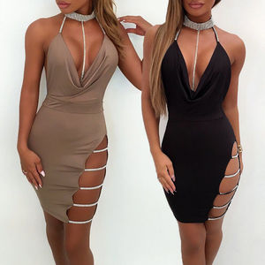 New Sexy Ladies Summer Dress Hole Sequin Halter Clothes Deep V-Neck Bodycon Sleeveless Clubwear Backless Women Pencil Mini Dress