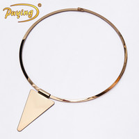 Indian style choker jewelry triangle metal pendant 18k gold choker necklace
