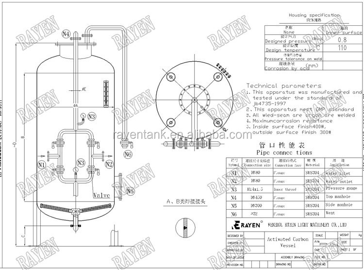 China Stainless Steel Carbon Filter Water Industrial