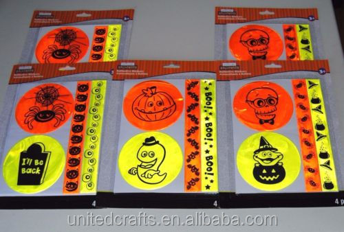 5 Packs of Halloween Reflective Stickers 4 Safety Stickers Per Pack - 20 Total