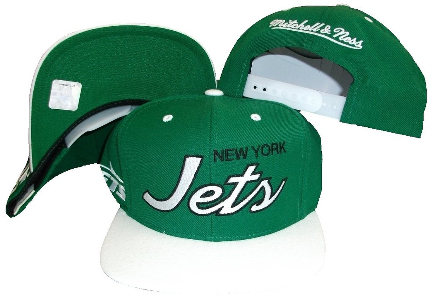 cc6ce7edd8e ... order get quotations new york jets script green white two tone snapback  adjustable plastic snap back