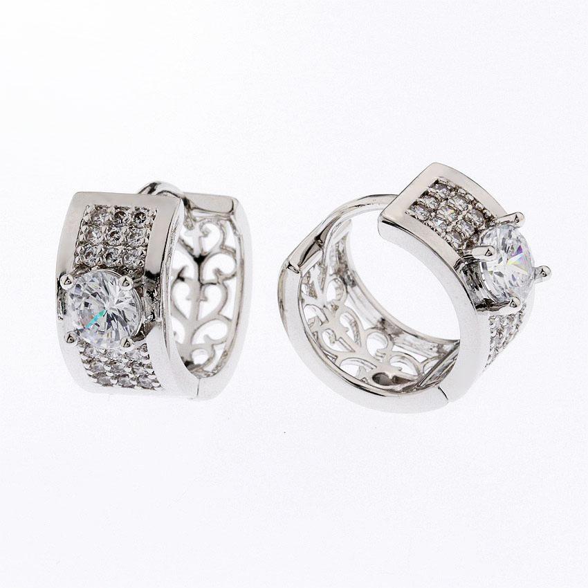 9edee9944ad1 Oro plateó la joyería personalizada pendientes huggies comprar al por mayor  sólido