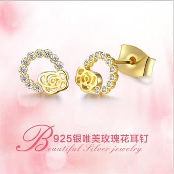 2018 Zircon Pure Silver Rose Earring C Shaped Stud Earrings