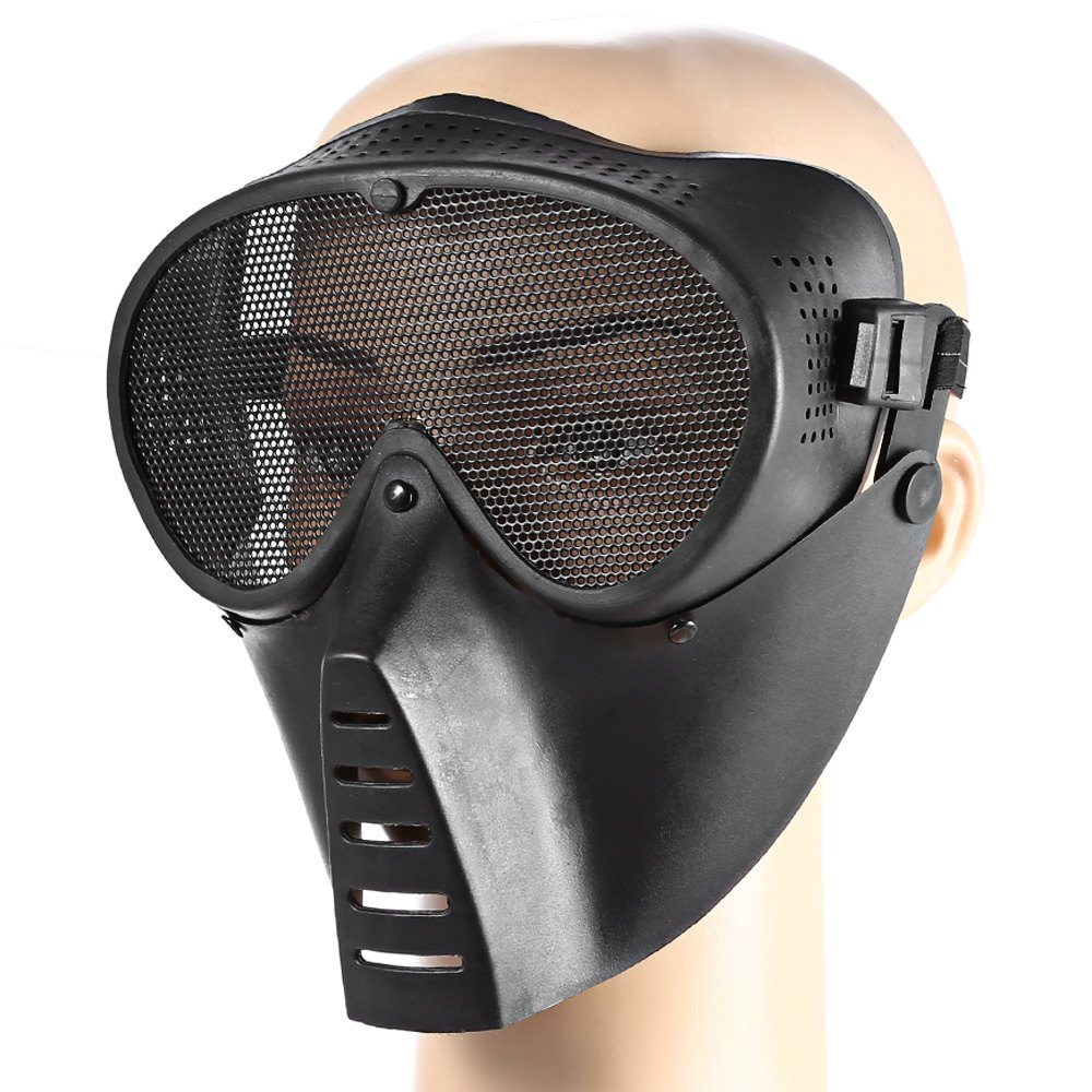 Outdoor CS Paintball BB Gun Accessories Protective Mask Full Face Nylon Black Airsoft