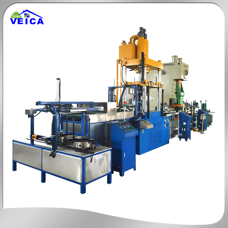 Automatic cookware pot feeder and drawing production line for producing stainless steel or aluminum cookware