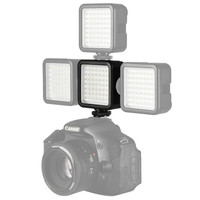 W49 Mini Camera LED Video Light Interlock with 3 Hot Shoe Mounts Bright Photographic Light for DSLR