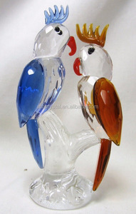 Parrots on a Perch Crystal Figurine MH-D0426