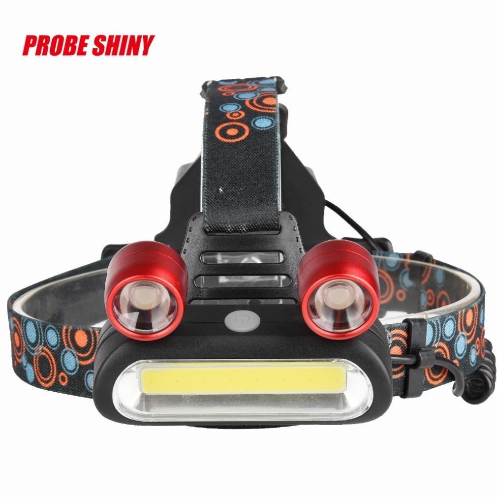 PENATE 4 Modes Waterproof Super Bright Headlamp 15000LM 2x XM-L T6 LED +COB Rechargeable Light Comfortable Hard Light Headlamp Head Light Torch Flashlight