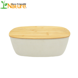 100% Biodegradable Leak Proof Bread Storage Bento Bamboo Fiber Food Box With Bamboo Lid