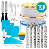 106 PCS Hot Sale Cake Decorating Tip Set Baking Supplies Rotating Cake Stand Turntable Tools Kit Plastic Cake Stand Icing Tips