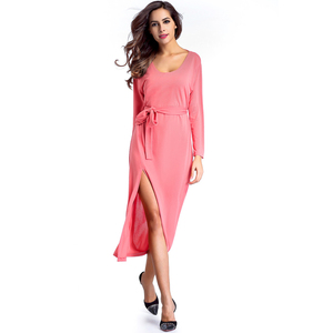 Sexy Knit Cross Front Design Hot Pink Cotton Long Maxi Dress Long Sleeve With Western Dresses Names Photos