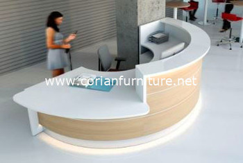 Formica Laminated And Corian Countertop Round Shaped Office Reception Desk