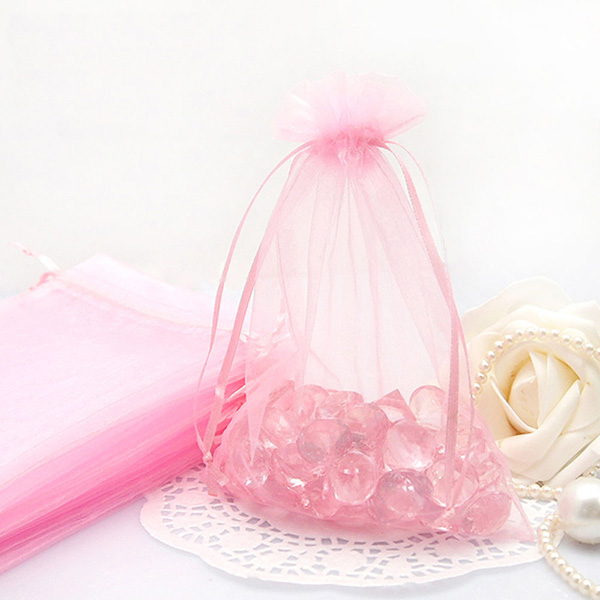 Wedding or Promotion Gift Package Cheap Popular Pink Organza Bag