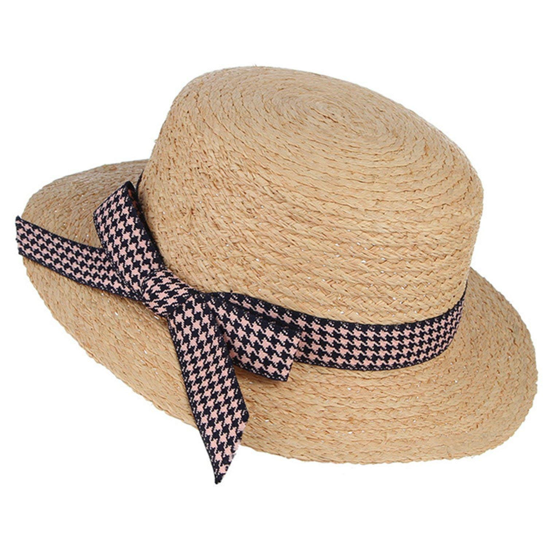 beb0faf3dda46 Get Quotations · Gail Jonson Fashion Lady Raffia Straw Hats for Women  Bowknots Flat Sun Hat Summer Beach Caps