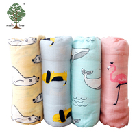Muslin tree pattern plain bamboo cotton muslin personalized custom baby blanket sets