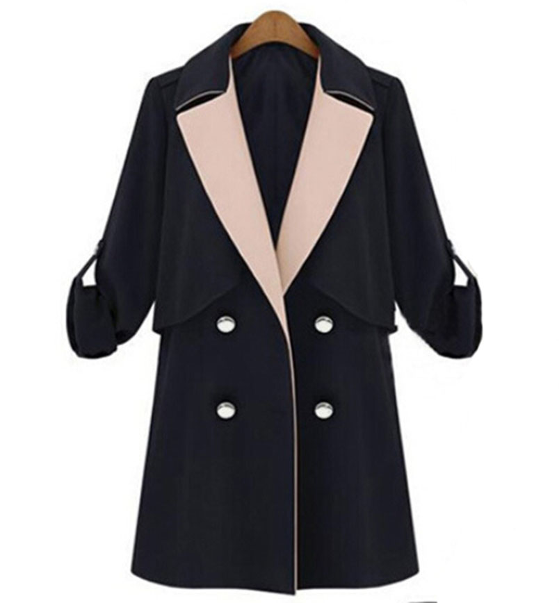 Manteau femme 2015 Autumn Winter trench coat for women long section hit color windbreaker coats double-breasted coat women