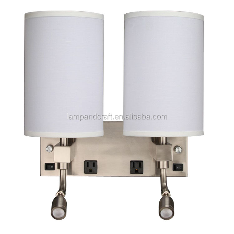 Middle east stainless steel wall light double gooseneck bedside led wall light for 3 star hotel lighting UL approve