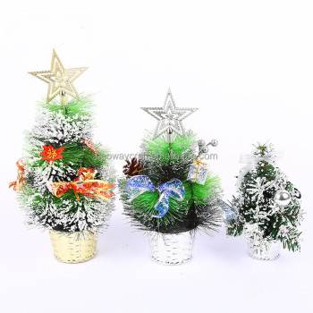 factory oil plastic mini snowing christmas tree table decoration
