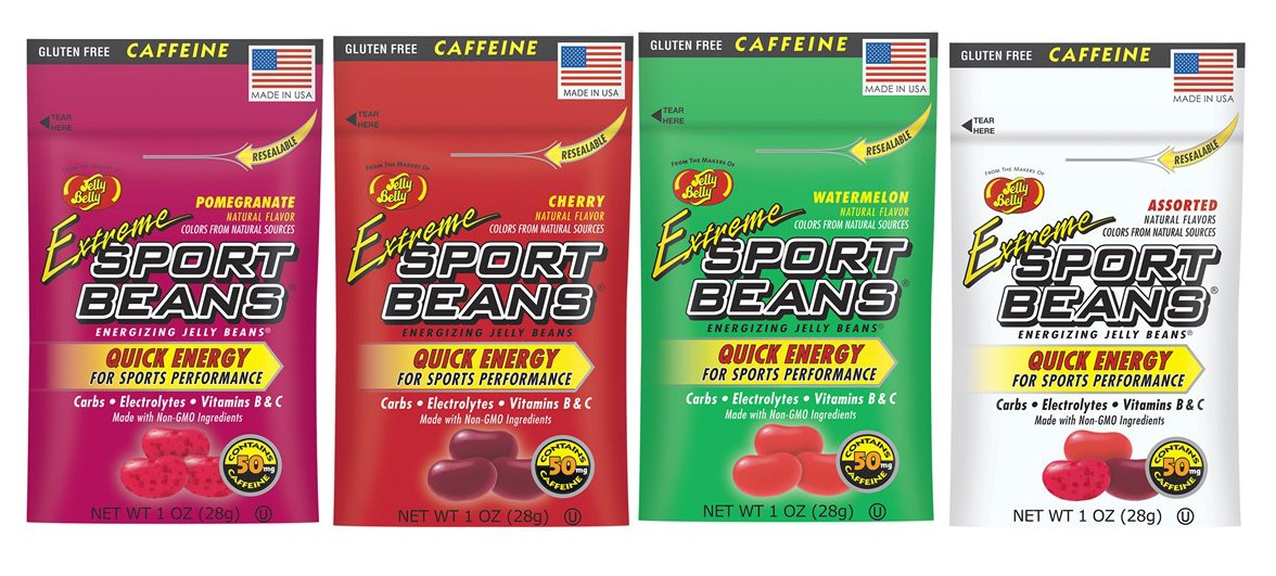 Jelly Belly Extreme Sport Beans Bundle of Four 1 Oz Bags (Pomegranate, Cherry, Watermelon, Assorted)