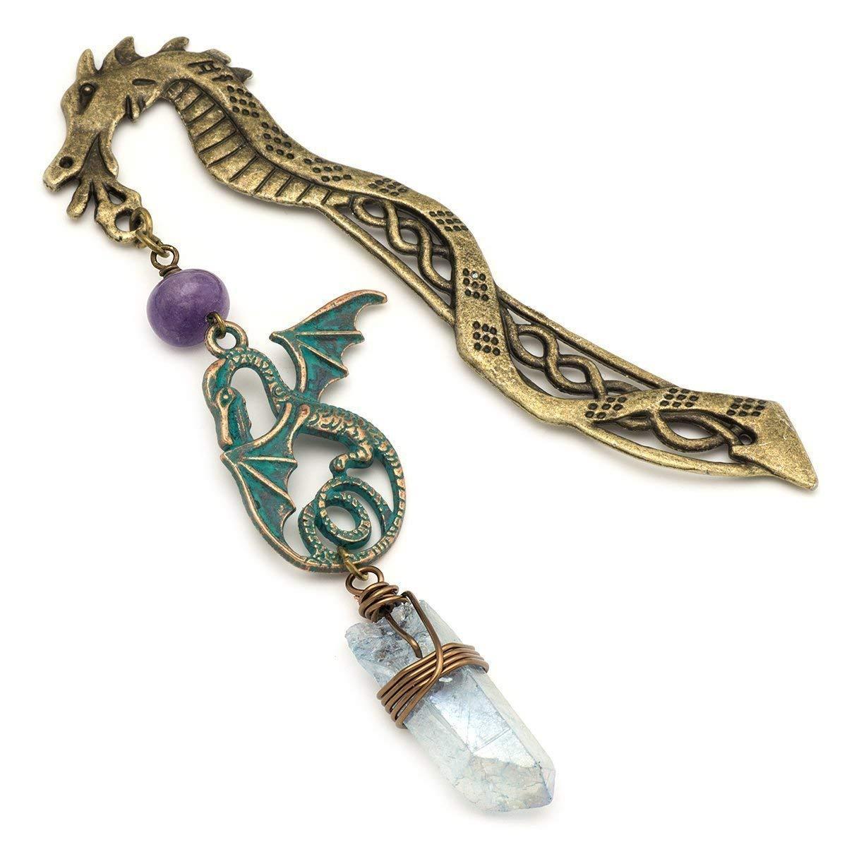 Aura quartz light blue gemstone point dragon bronze metal unique gift bookmark