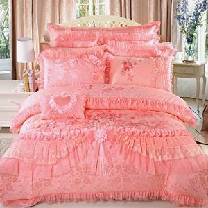 LELVA Luxury Lace Princess Bedding Pink Wedding Bedding Princess Bedding Korean Designer, Girl Red Ruffle Bedding Set 4pcs / 6pcs / 8pcs / 10pcs Queen / King Size (King, 1(10pcs))