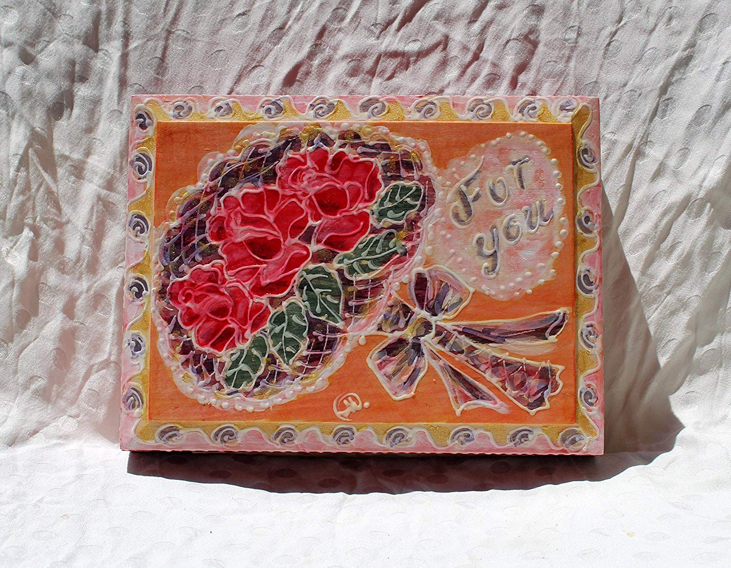 Sale!!!10% Off,Hand Painted Wooden Jewelry Box with Wedding bouquet, Roses Flowers and text FOR YOU, Home Decoration, Treasure Box, Wedding Box, Gift for her.