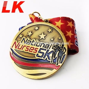 Custom sports award soft enamel antique gold metal medal