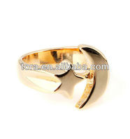 2013 new design only in dream gold plated moon and star ring