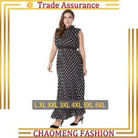 9008# New Style Sleeveless Polka Dot Chiffon Maxi Long Night Dress For Fat Ladies Plus Size Women Clothing