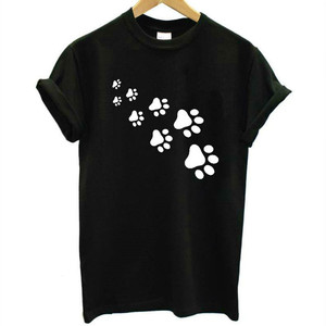 cat paws print Women t shirt Cotton Casual Funny t shirt For Lady Top Tee Hipster gray black white