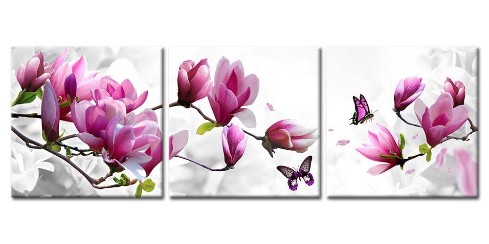 Canvas Print Wall Art Paintings For Home Decor Magnolia Flowers In Red And White Butterfly 3 Pieces Panel Painting Modern Giclee Framed Artwork The Pictures For Living Room Decoration Prints On Canvas