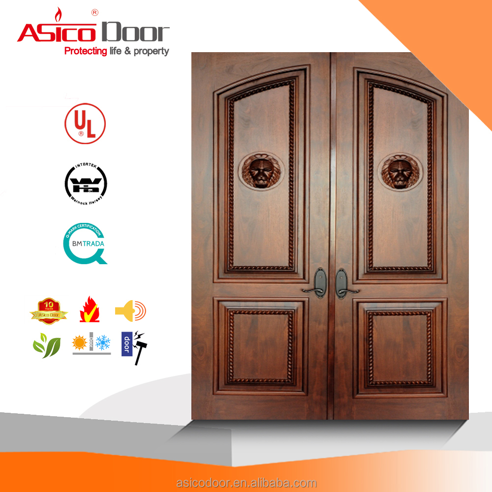 UL listed 20 minutes natural veneer finished solid core flush wooden fire rated door