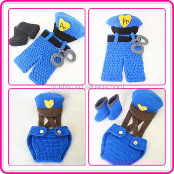Handmade Baby Boy Toddler Clothes Sets Crochet Policeman Outfit For