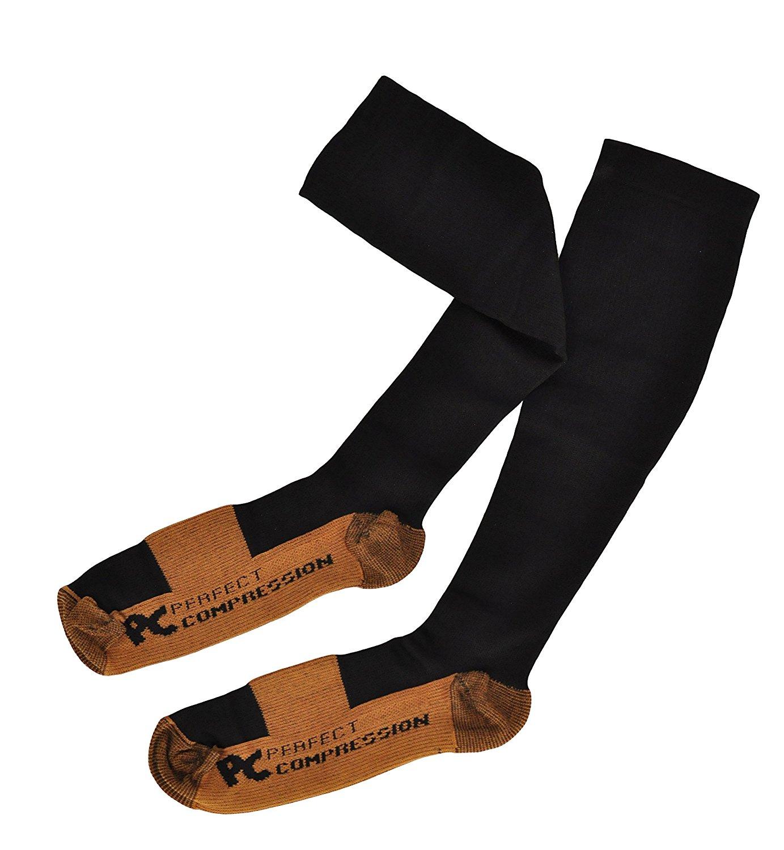5848d022c2 Get Quotations · Compression Socks Black - 75% Copper Fiber - Anti Fatigue  Socks for Men and Women