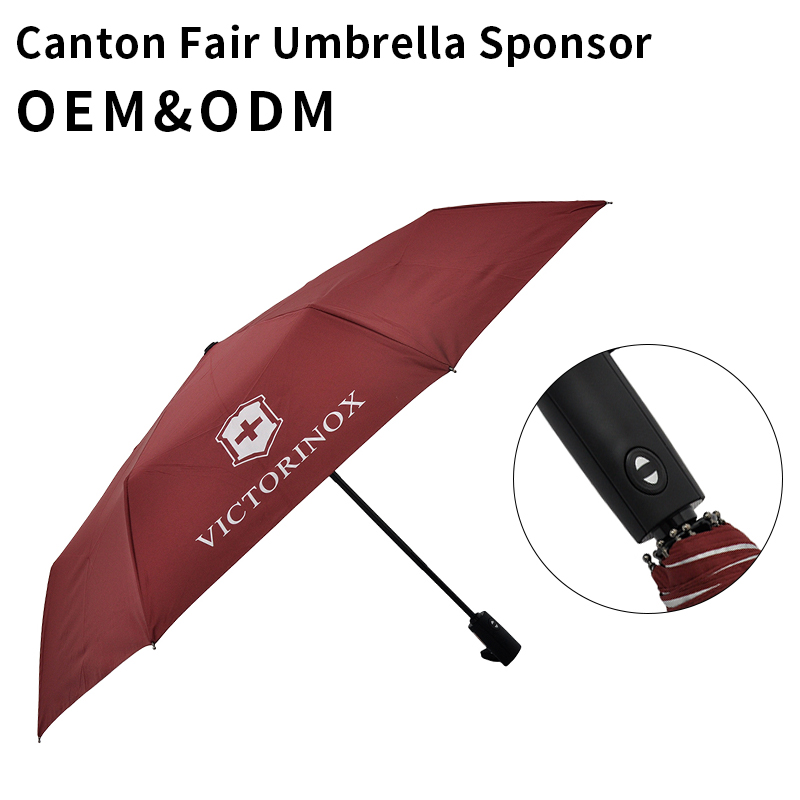 Polyester/Pongee Slim Collapsible Stylish Art Retractable Knirps Packer Ultra Light Umbrealla 3 Fold Auto Open Close Umbrella