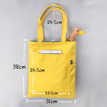 Promotional Small Cotton Canvas Zipper Tote Bag With Outside Pockets