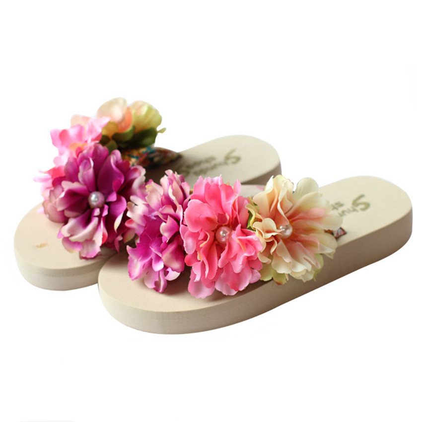 cheelon shoe 12 colors eva low platform summer beach sandals shoes ladies flower flip flops slippers