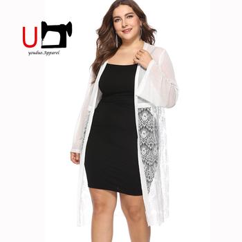 Hot Sale Lace White Plus Size Long Sleeve Front Open Women Cardigan ... e121b8a60