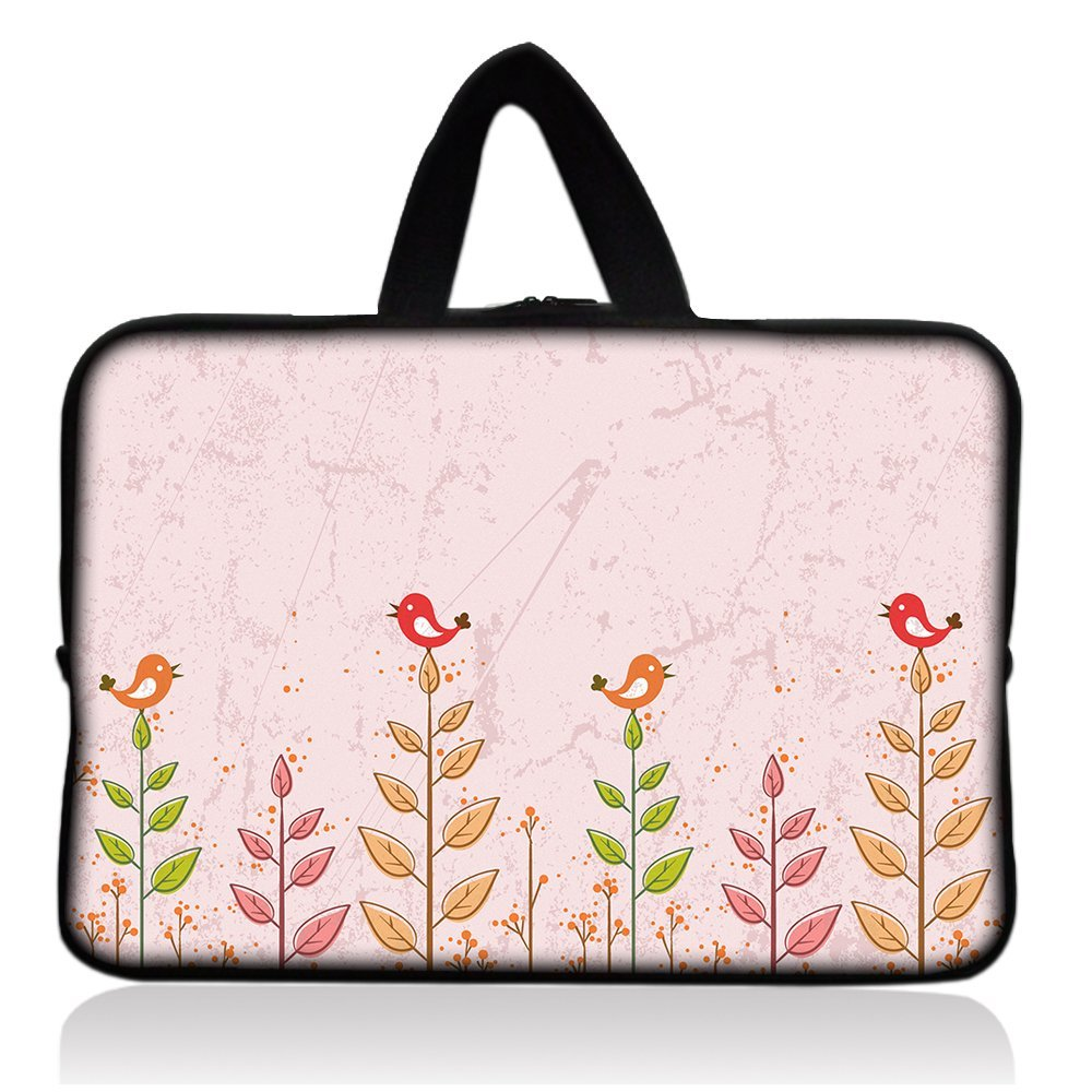 "Stylish Cute Bird & Tree 7"" Neoprene Tablet Sleeve Pouch Case Bag w/ Handle For 7"" iRulu Android 4.2 Tablet PC /Samsung Galaxy Tab 3 7"" Android Tablet /7.9"" Apple iPad mini Tablet /Ematic 7"" Google Android 4.2 Tablet /Proscan 7"" Android 4.0 Touchscreen Tablet /Barnes & Noble NOOK Tablet 7"""