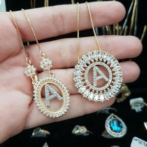 Brazil Wholesale Fashion Custom Women Gold Jewelry Necklace Initial Copper Pendant Necklace